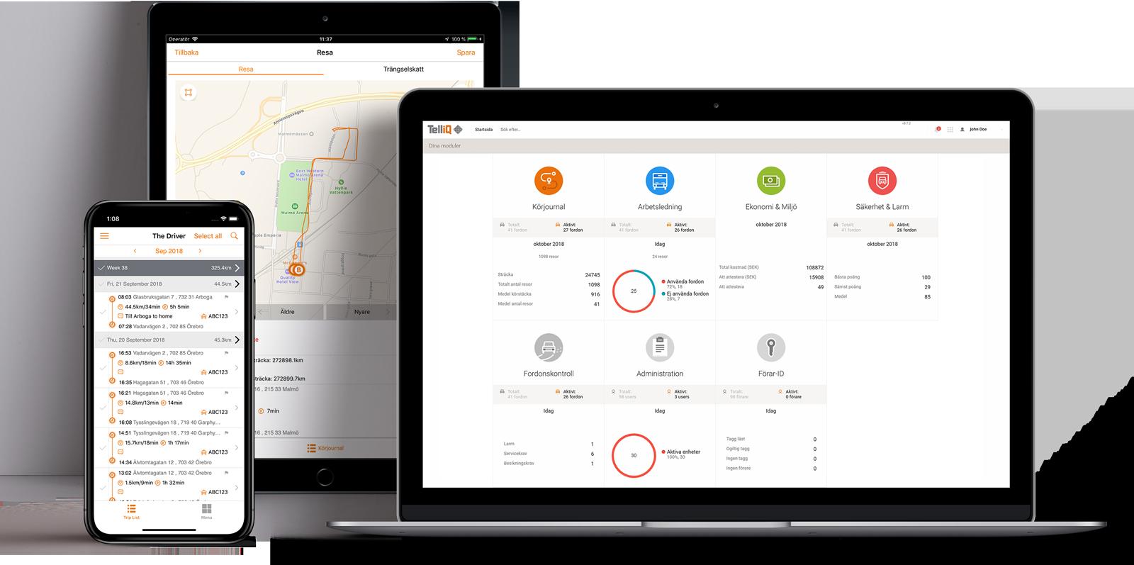 TelliQ Fleet Management - Alla dina fordon, maskiner, och verktyg på ett ställe