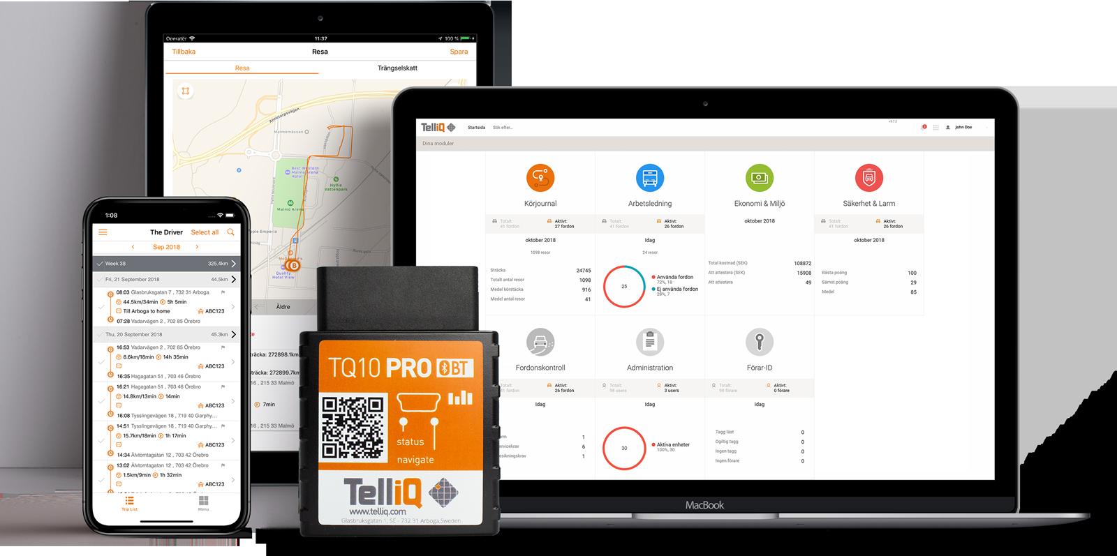 TelliQ Körjournal - Elektonisk körjournalsenhet, snabbjobbad webbplattform och smidig app för föraren.